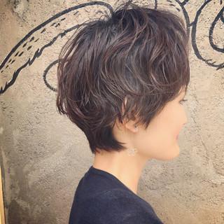 黒髪 パーマ ショート ショートヘア ヘアスタイルや髪型の写真・画像