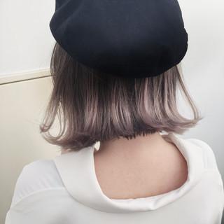 ロブ ボブ ハイライト グレージュ ヘアスタイルや髪型の写真・画像