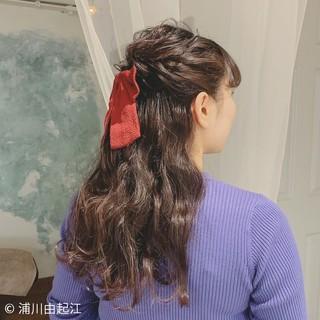 ゆるふわ 前髪あり ヘアアレンジ 卒業式 ヘアスタイルや髪型の写真・画像