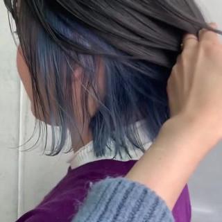 ストリート グレージュ インナーカラー ボブ ヘアスタイルや髪型の写真・画像