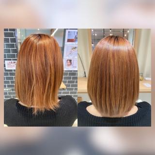 ボブ 髪質改善カラー 髪質改善トリートメント ナチュラル ヘアスタイルや髪型の写真・画像