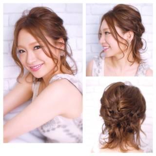 ミディアム ヘアアレンジ 簡単ヘアアレンジ 編み込み ヘアスタイルや髪型の写真・画像