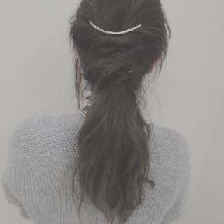 ゆるふわ ねじり ロング 編み込み ヘアスタイルや髪型の写真・画像