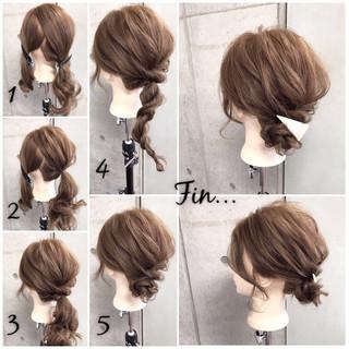 くるりんぱ 和装 簡単 セミロング ヘアスタイルや髪型の写真・画像