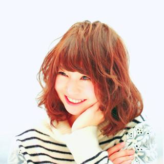 前髪あり 春 愛され フェミニン ヘアスタイルや髪型の写真・画像