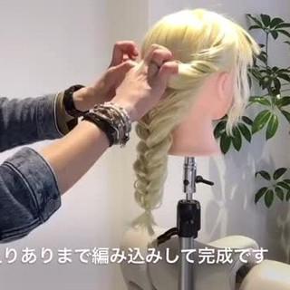 編み込み ヘアアレンジ くるりんぱ ロング ヘアスタイルや髪型の写真・画像 ヘアスタイルや髪型の写真・画像