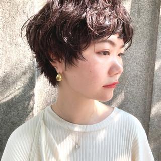 ナチュラル ミルクティーベージュ ショート アンニュイほつれヘア ヘアスタイルや髪型の写真・画像