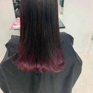 ピンクラベンダー セミロング 暖色 グラデーションカラー ヘアスタイルや髪型の写真・画像