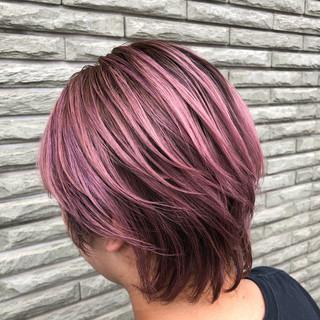 バレイヤージュ 外国人風カラー ショートヘア ストリート ヘアスタイルや髪型の写真・画像