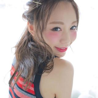 アッシュ ハーフアップ 外国人風 ショート ヘアスタイルや髪型の写真・画像
