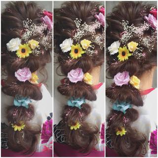 フェミニン ハーフアップ ショート ゆるふわ ヘアスタイルや髪型の写真・画像