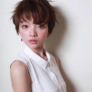 卵型 ガーリー ストリート ショート ヘアスタイルや髪型の写真・画像