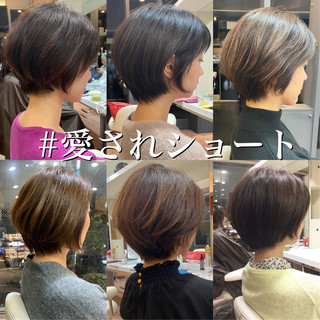 ショート フェミニン インナーカラー ショートボブ ヘアスタイルや髪型の写真・画像