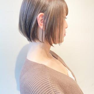 ミルクティーグレージュ ショート ショートボブ 透明感カラー ヘアスタイルや髪型の写真・画像