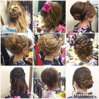 編み込み アップスタイル ヘアアレンジ セミロング ヘアスタイルや髪型の写真・画像