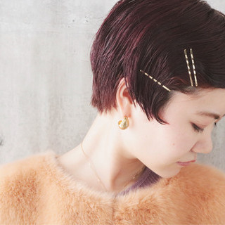 ショート パーマ アンニュイほつれヘア ピンクバイオレット ヘアスタイルや髪型の写真・画像 ヘアスタイルや髪型の写真・画像