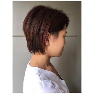ショートレイヤー 外国人風 ショートボブ 2ブロック ヘアスタイルや髪型の写真・画像