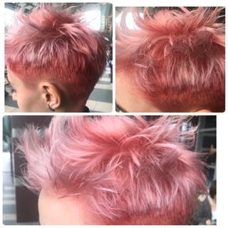 ピンク ベージュ 透明感 ショート ヘアスタイルや髪型の写真・画像