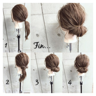 くせ毛風 くるりんぱ ヘアアレンジ 簡単ヘアアレンジ ヘアスタイルや髪型の写真・画像