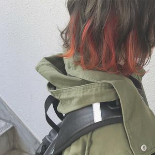 オレンジ カラーバター ストリート インナーカラー ヘアスタイルや髪型の写真・画像
