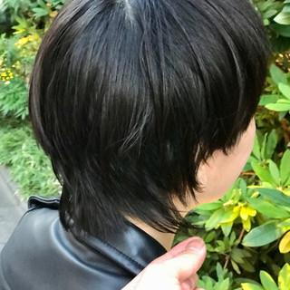 黒髪 ショートボブ ベリーショート ウルフカット ヘアスタイルや髪型の写真・画像