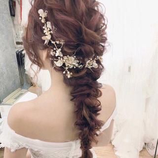 ロング 結婚式 上品 大人かわいい ヘアスタイルや髪型の写真・画像