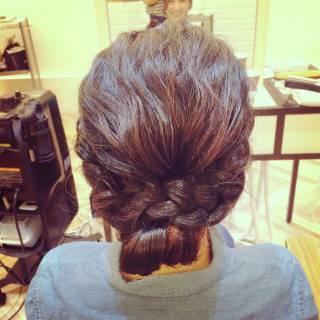 編み込み ゆるふわ ヘアアレンジ まとめ髪 ヘアスタイルや髪型の写真・画像