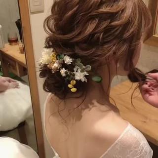 ガーリー ゆるふわ セミロング 結婚式 ヘアスタイルや髪型の写真・画像 ヘアスタイルや髪型の写真・画像