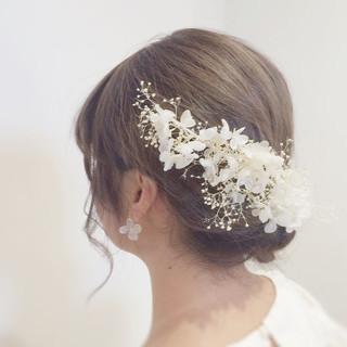 ブライダル 大人女子 セミロング 結婚式 ヘアスタイルや髪型の写真・画像