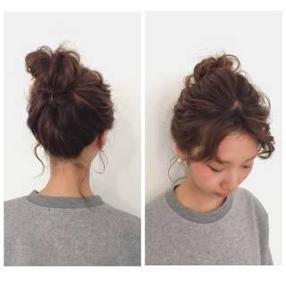 ヘアアレンジ パーティ シースルーバング お団子 ヘアスタイルや髪型の写真・画像 ヘアスタイルや髪型の写真・画像