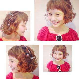 ガーリー ヘアアレンジ ショート 簡単ヘアアレンジ ヘアスタイルや髪型の写真・画像