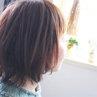 ピンク ミディアム 色気 ボブ ヘアスタイルや髪型の写真・画像