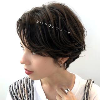透明感カラー 暗髪 大人かわいい ショート ヘアスタイルや髪型の写真・画像