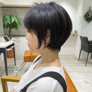 ショートボブ ミニボブ くびれボブ ナチュラル ヘアスタイルや髪型の写真・画像