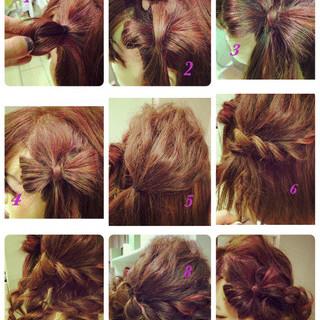 編み込み かわいい ガーリー セミロング ヘアスタイルや髪型の写真・画像