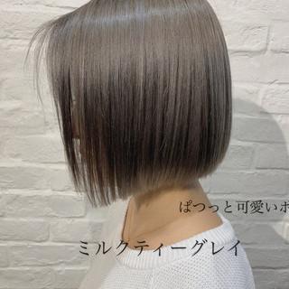 モード ミニボブ ショートヘア 切りっぱなしボブ ヘアスタイルや髪型の写真・画像
