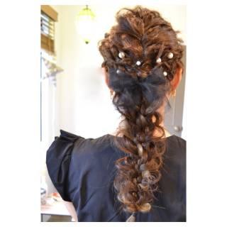 ストリート 三つ編み 結婚式 アップスタイル ヘアスタイルや髪型の写真・画像 ヘアスタイルや髪型の写真・画像