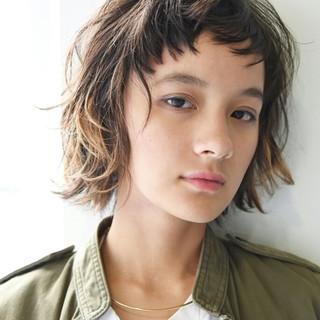 切りっぱなし ボブ 外国人風 ハイライト ヘアスタイルや髪型の写真・画像
