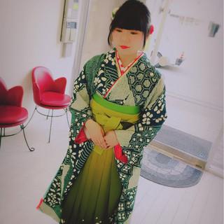 セミロング 袴 着物 ヘアアレンジ ヘアスタイルや髪型の写真・画像