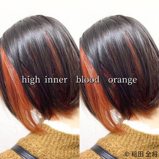 ストリート ヘアカラー ブラットオレンジ ボブ ヘアスタイルや髪型の写真・画像