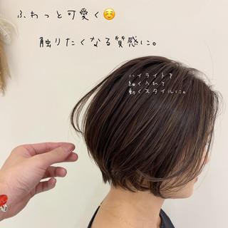 極細ハイライト ナチュラル ボブ ハイライト ヘアスタイルや髪型の写真・画像