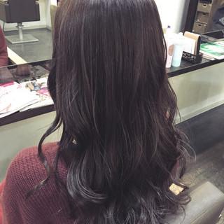 ロング パープル ミルクティー フェミニン ヘアスタイルや髪型の写真・画像