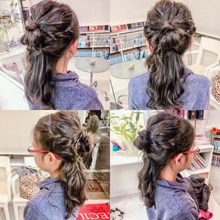 ルーズ 波ウェーブ ガーリー 簡単ヘアアレンジ ヘアスタイルや髪型の写真・画像