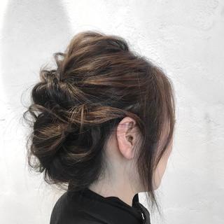 簡単ヘアアレンジ くるりんぱ セミロング ヘアアレンジ ヘアスタイルや髪型の写真・画像