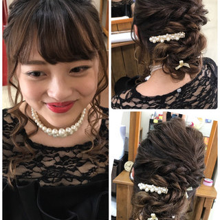 結婚式 大人女子 ガーリー ヘアアレンジ ヘアスタイルや髪型の写真・画像