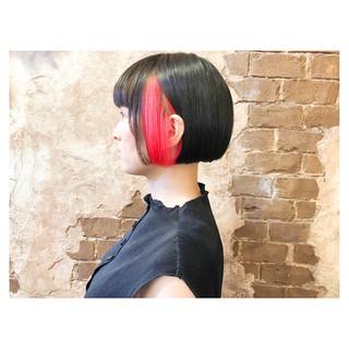 ボブ 切りっぱなしボブ モード ワンレングス ヘアスタイルや髪型の写真・画像