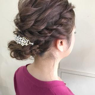 エレガント 結婚式 編み込み セミロング ヘアスタイルや髪型の写真・画像