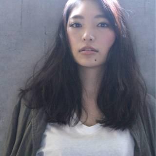 ナチュラル ロング パンク 黒髪 ヘアスタイルや髪型の写真・画像