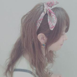 ヘアアレンジ ロング ゆるふわ ヘアアクセ ヘアスタイルや髪型の写真・画像