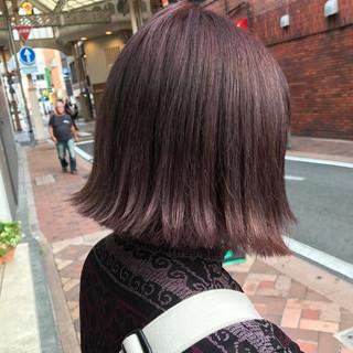 ピンクアッシュ グレー ラベンダーピンク ボブ ヘアスタイルや髪型の写真・画像